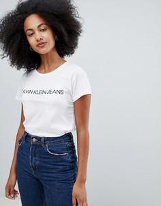 Облегающая футболка с логотипом Calvin Klein Jeans - Белый