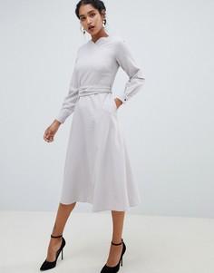Платье миди с поясом и длинными рукавами Closet London - Серый