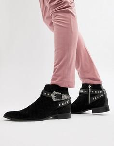 Черные бархатные ботинки челси с геометрическим узором House Of Hounds Harpy - Черный
