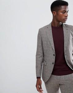 Приталенный пиджак в клеточку Selected Homme - Серый