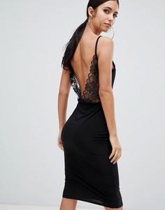 Черное платье миди с открытой спиной и кружевными вставками Missguided - Черный