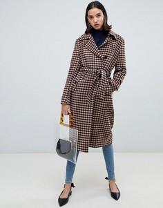 Шерстяное пальто в клетку с запахом Selected Femme - Мульти