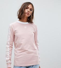 Розовый лонгслив с полосками adidas Originals - Розовый