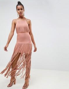 Бандажное платье с бахромой ASOS DESIGN premium - Розовый