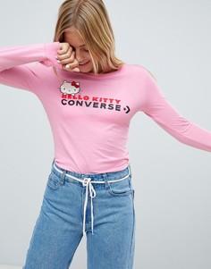 Розовый узкий лонгслив Converse X Hello Kitty - Розовый