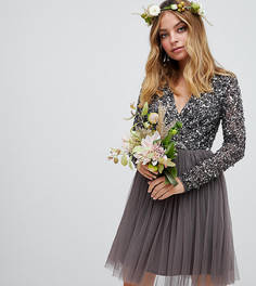 Темно-серое платье мини с длинными рукавами и пайетками Maya Petite - Серый