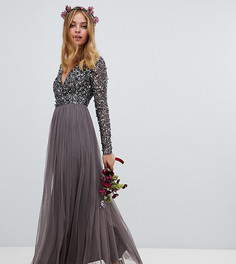 Темно-серое платье макси с длинными рукавами и пайетками Maya Petite - Серый
