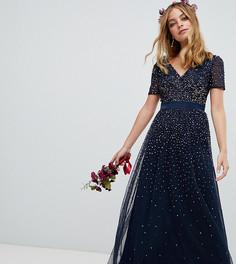 Темно-синее платье макси с V-образным вырезом и пайетками Maya Petite - Темно-синий
