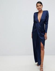 Платье макси с разрезом ASOS EDITION - Темно-синий