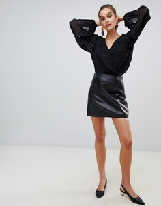 Черная мини-юбка из натуральной кожи премиум River Island - Черный