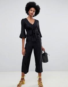 Черные жаккардовые укороченные кюлоты с широкими штанинами Miss Selfridge - Черный