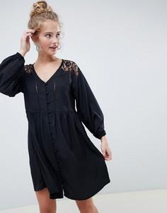Свободное платье на пуговицах с V-образным вырезом и кружевом ASOS DESIGN - Черный