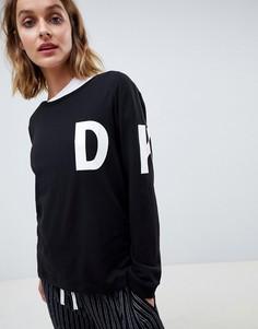 Трикотажный пижамный топ с длинными рукавами и логотипом DKNY - Черный