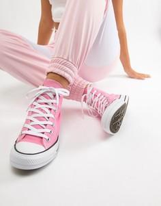 Розовые высокие кроссовки Converse - Розовый