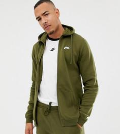 Худи зеленого цвета с молнией Nike Club 804389-395 - Зеленый