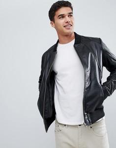 Кожаная куртка с узором крокодиловой кожи Barneys Originals - Черный