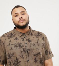 Рубашка с темным пальмовым принтом Another Influence PLUS - Коричневый