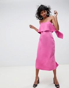 Платье на бретельках с оборками ASOS WHITE - Розовый