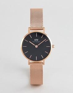 Розово-золотистые часы с белым циферблатом 28 мм и сетчатым браслетом Daniel Wellington Petite Melrose - Золотой