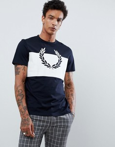 Темно-синяя футболка с принтом лаврового венка Fred Perry - Темно-синий