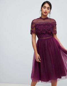Темно-фиолетовое платье миди 2 в 1 с кружевным топом и юбкой из тюля Chi Chi London - Фиолетовый