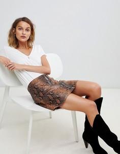 Кожаная юбка со змеиным принтом AllSaints lena oba - Мульти
