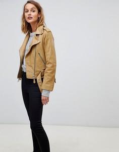 Кожаная байкерская куртка AllSaints - Коричневый