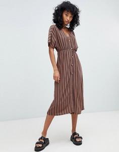 Платье миди в полоску на пуговицах Pull&Вear - Мульти Pull&;Bear
