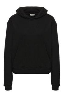 Хлопковый пуловер с капюшоном Saint Laurent