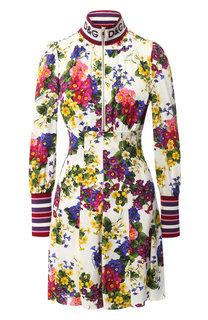 Шелковое платье с принтом и воротником-стойкой Dolce & Gabbana