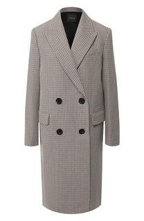 Двубортное пальто из смеси хлопка и шерсти Theory