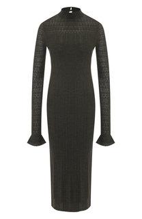 Шерстяное платье-миди с воротником-стойкой Polo Ralph Lauren