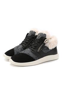 Комбинированные кроссовки с внутренней отделкой из овчины Giuseppe Zanotti Design