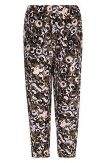 Укороченные шелковые брюки с принтом Marni