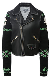 Кожаная куртка с вязаным рукавом Loewe