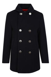 Черное двубортное пальто Dolce&Gabbana Kids