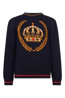 Шерстяной джемпер с контрастным рисунком Dolce&Gabbana Kids