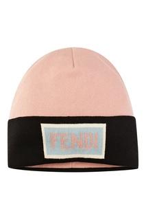 Контрастная шапка-бини с логотипом Fendi Kids