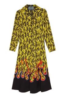 Платье-рубашка с принтом Prada
