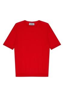 Красный джемпер с короткими рукавами Prada