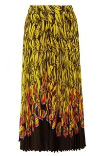 Яркая плиссированная юбка Prada