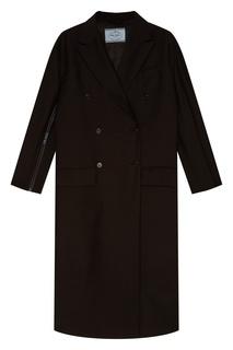 Черное двубортное пальто Prada