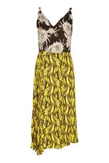 Комбинированное платье с принтом Prada