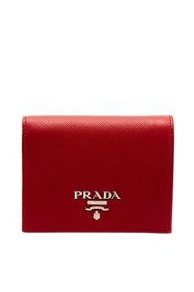 Красный кожаный кошелек Prada