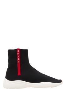 Высокие текстильные кроссовки Prada