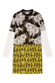 Комбинированное платье с длинными рукавами Prada