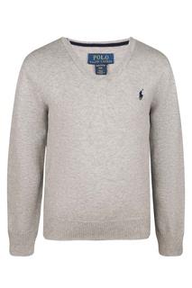 Светло-серый пуловер с логотипом Ralph Lauren Kids