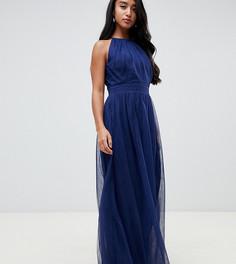 Плиссированное платье макси с высоким воротником Little Mistress Petite - Темно-синий