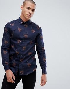 Темно-синяя рубашка с принтом Ted Baker - Темно-синий