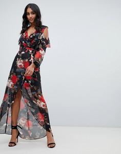 Платье макси с цветочным принтом и открытыми плечами Lipsy - Мульти